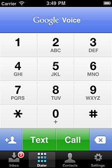 Google Voice app dialer