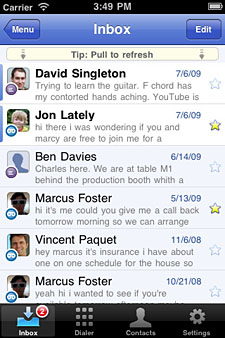 Google Voice app inbox