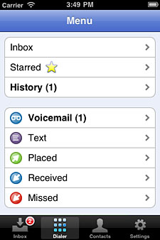 Google Voice app menu