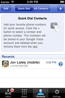 Google Voice app quick dial