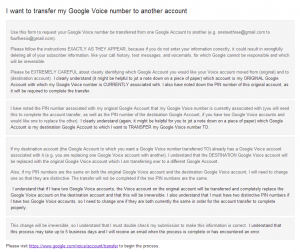 Transfer Google Voice Account