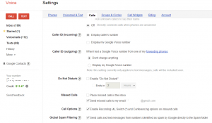 Google Voice Calls Settings