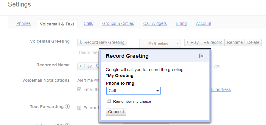 Google voicemail custom greetings and settings google voice custom greeting m4hsunfo