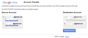 Transfer Google Voice account - destination account
