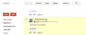 Google Voice spam block